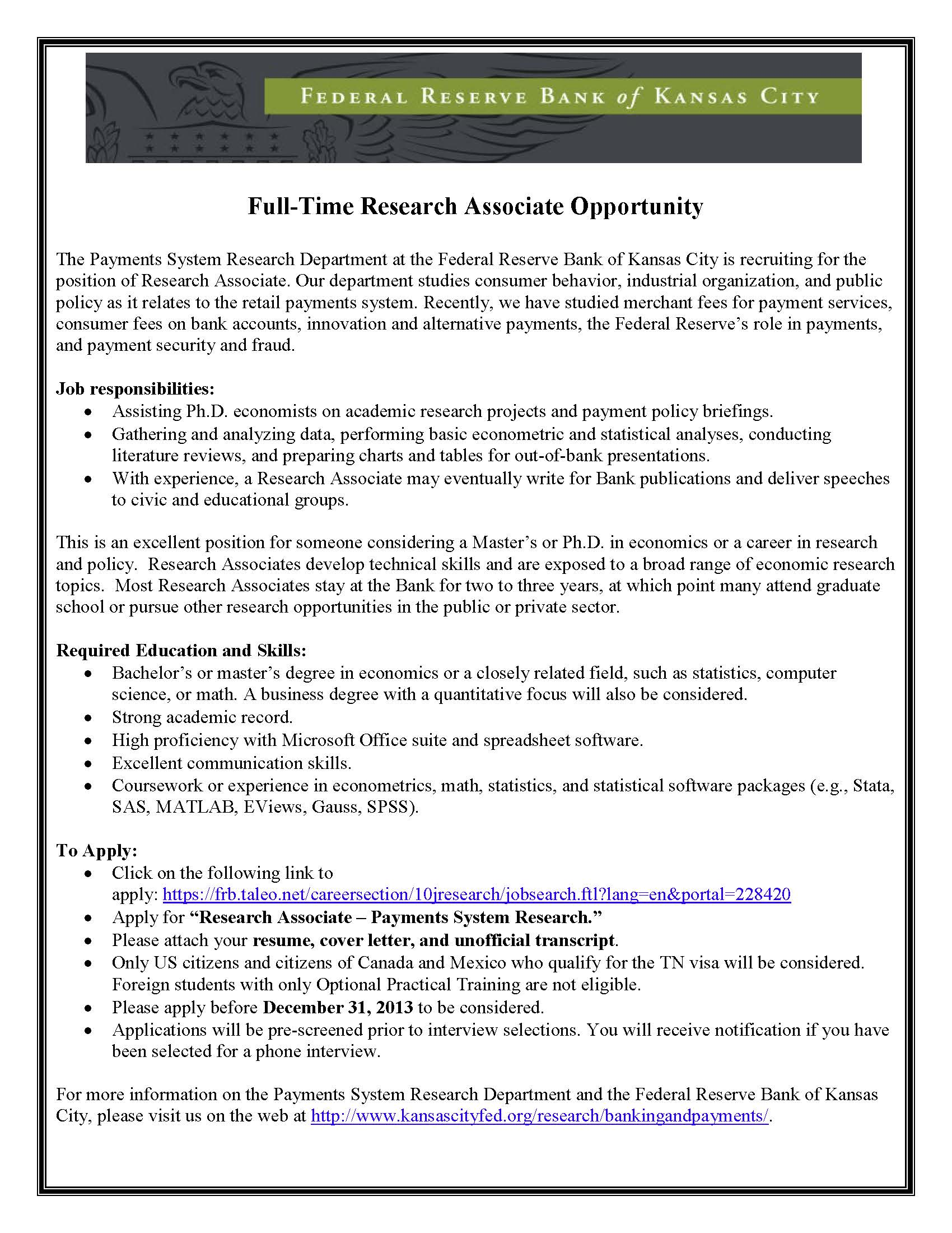 research associate opportunity  u2013 federal reserve bank of kansas city  u2013 career connection