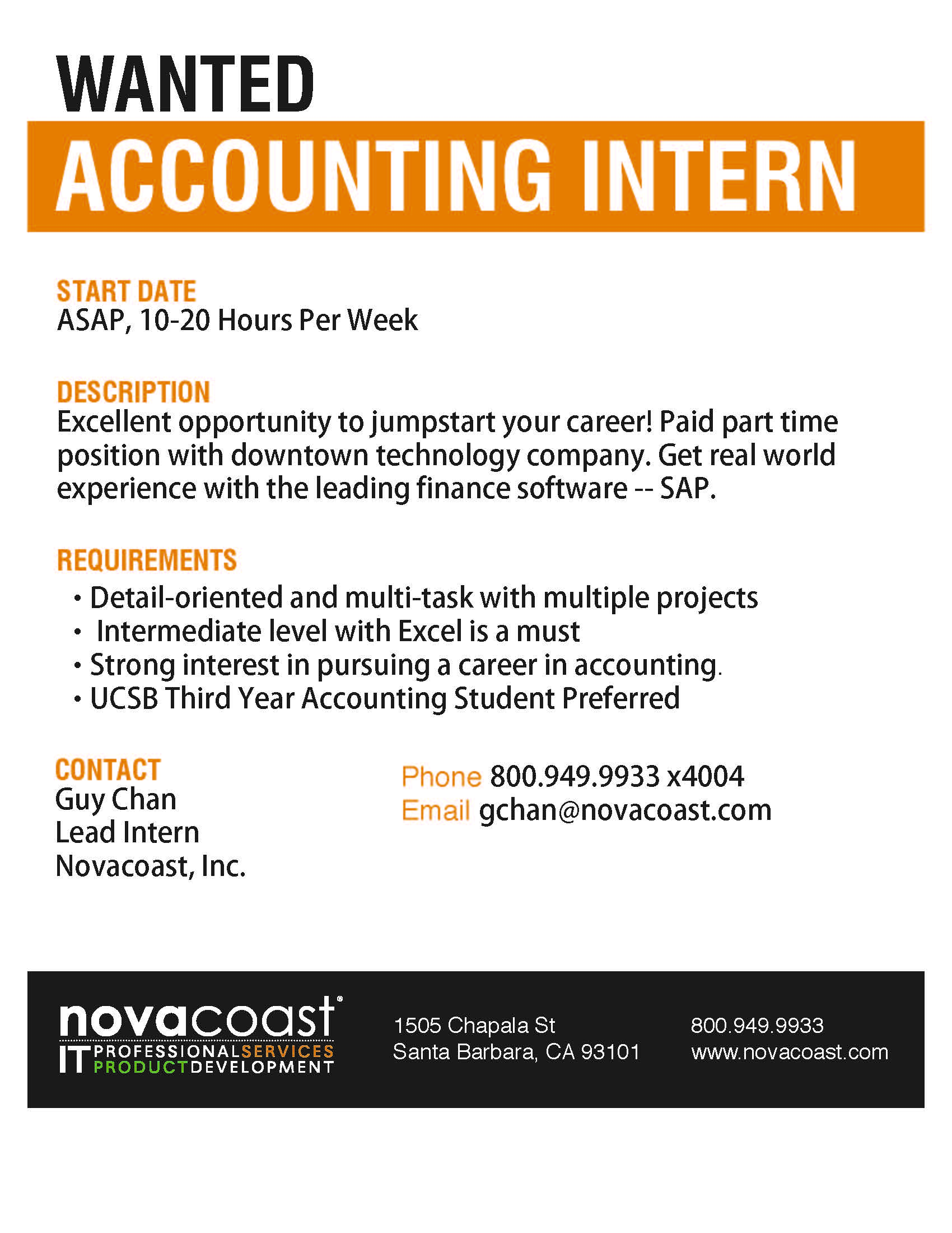 Novacoast Accounting Internship Flier   Fall 2013 1  Accounting Intern Resume