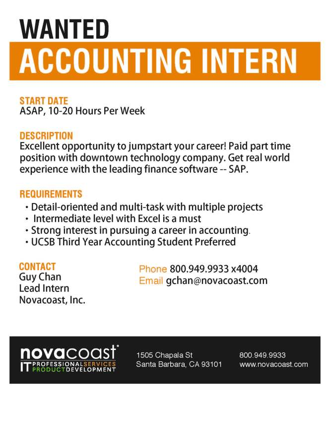 Novacoast Accounting Internship Flier - Fall 2013-1