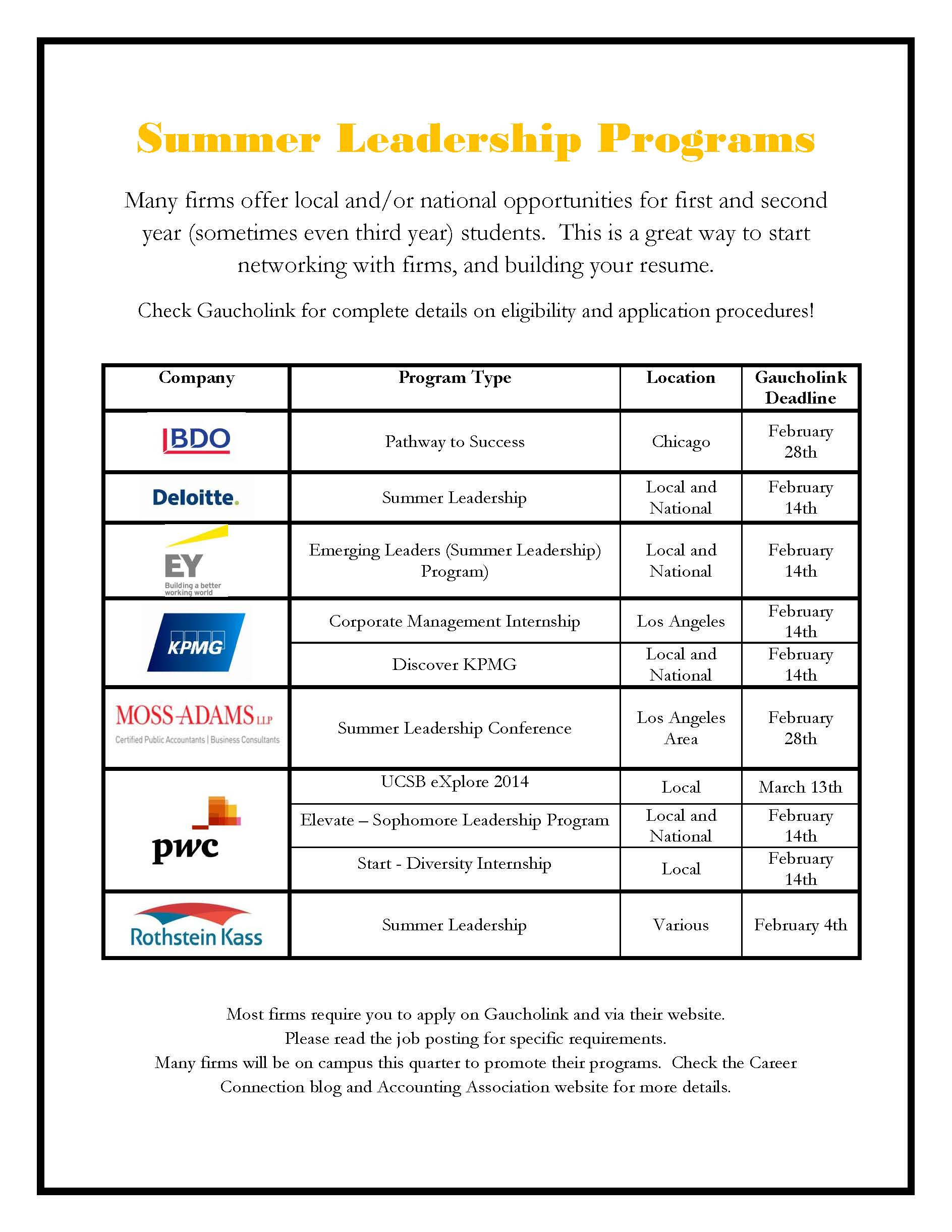Summer Leadership Deadlines Career Connection