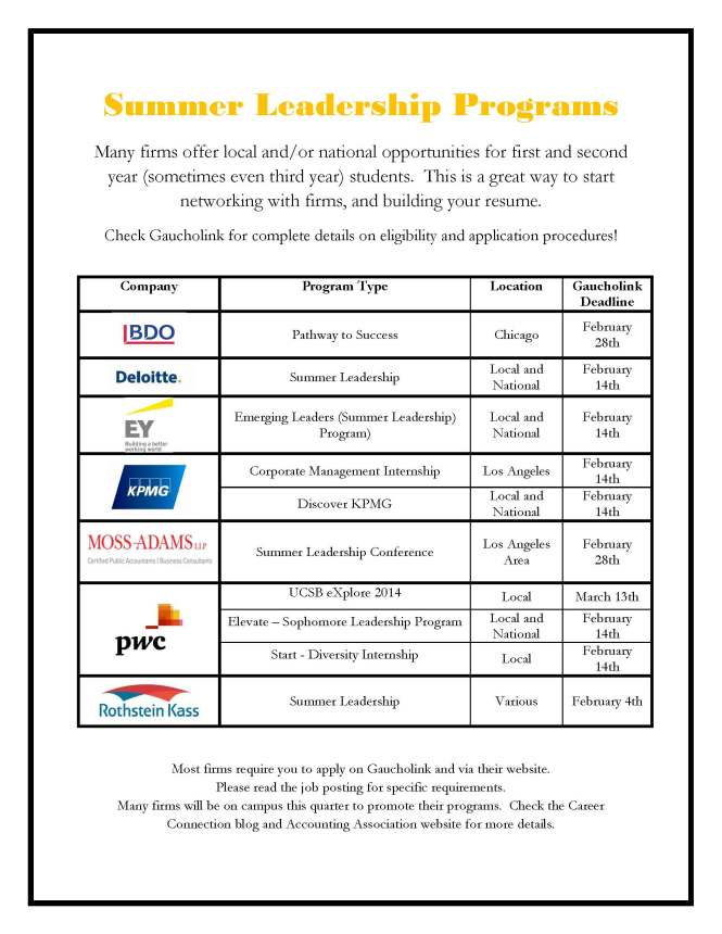 Summer Leadership Programs - dtaes flyer