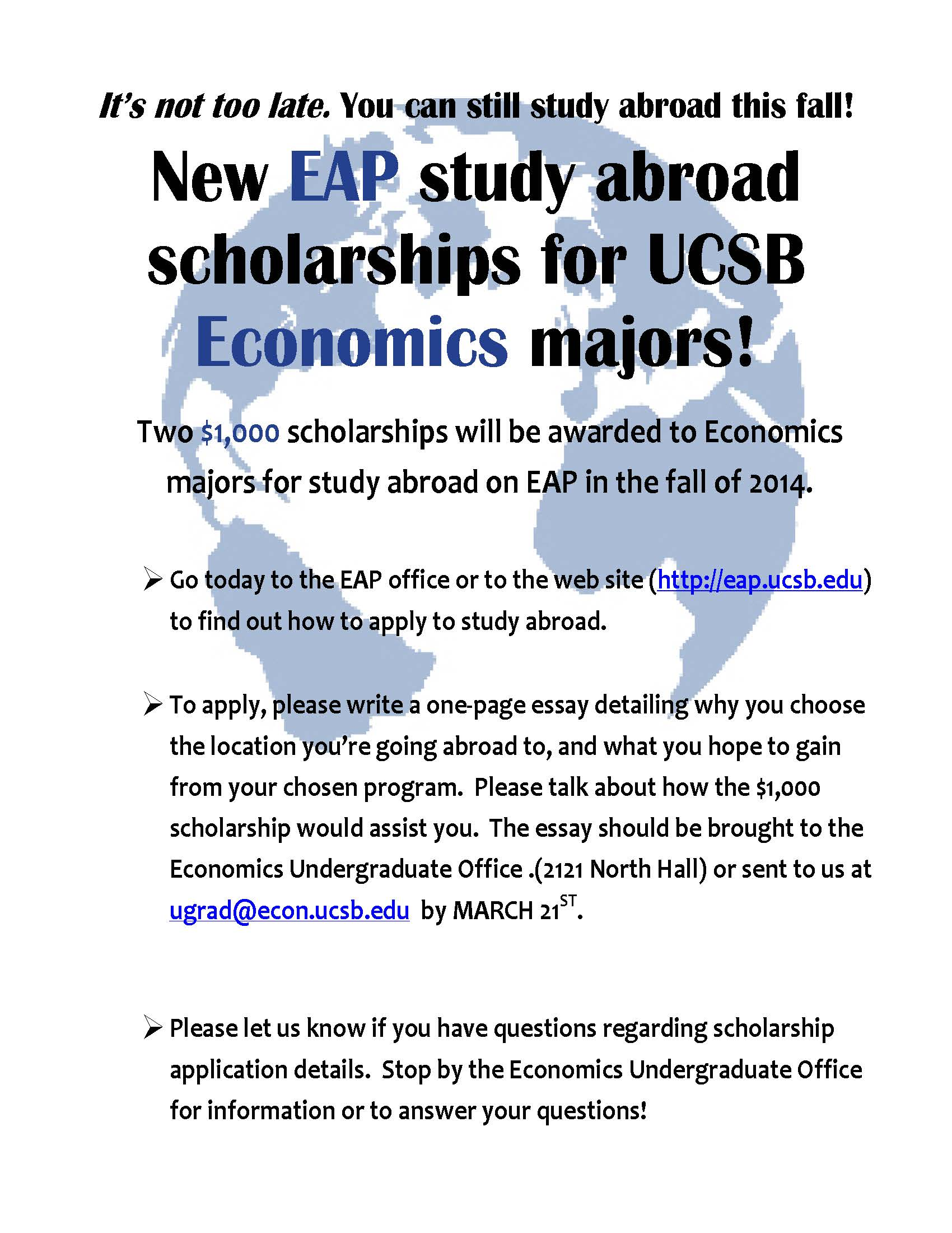 scholarship career connection economics scholarship s14