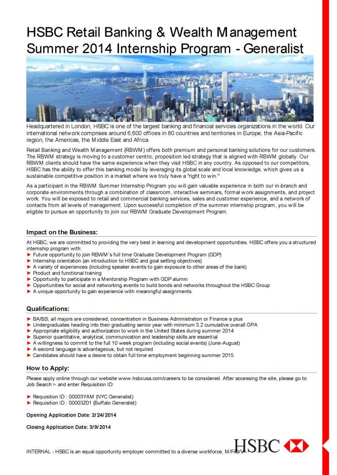 HSBC Summer 2014 Internship Flyer - Generalist