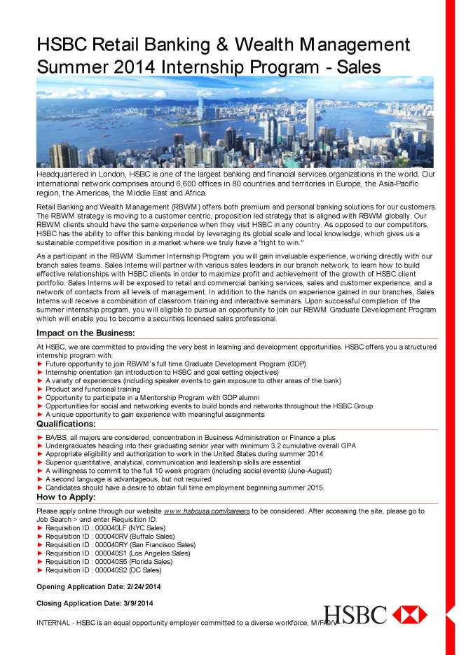 HSBC Summer 2014 Internship Flyer - Sales